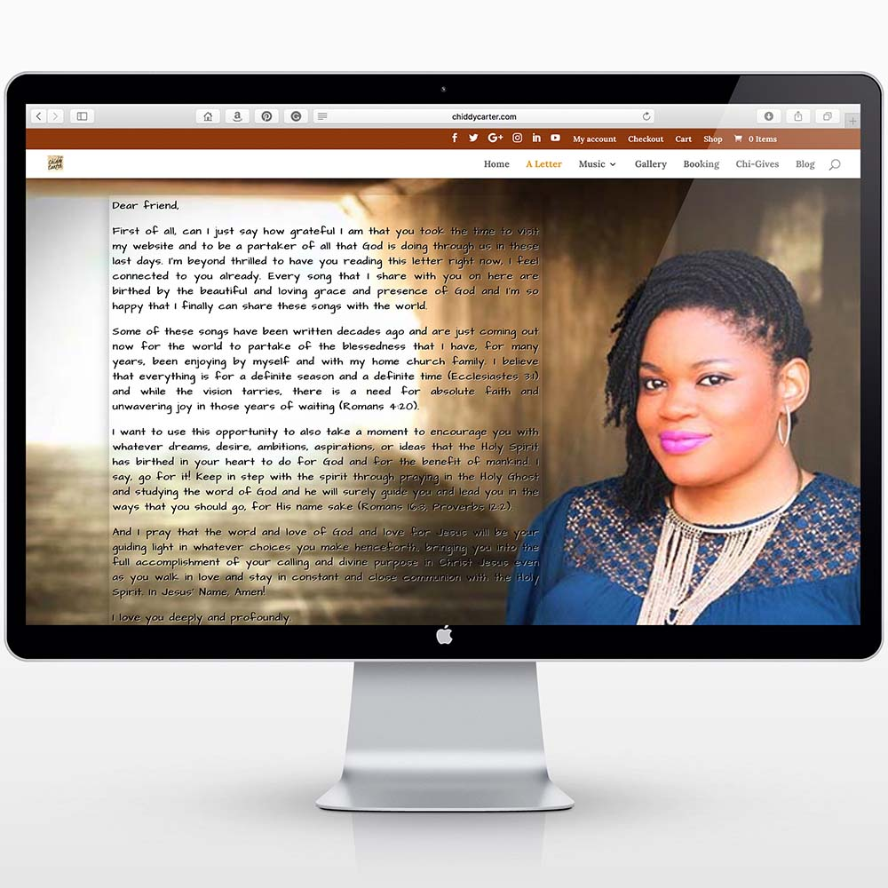 Website screen shot of about page for Christian Music Artist