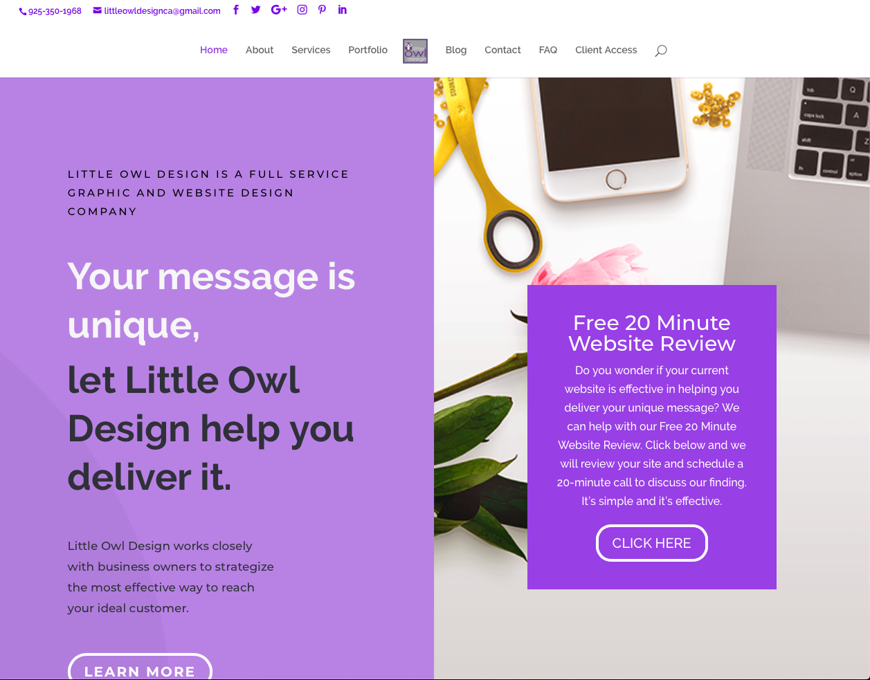 Little Owl Design Website home page screenshot
