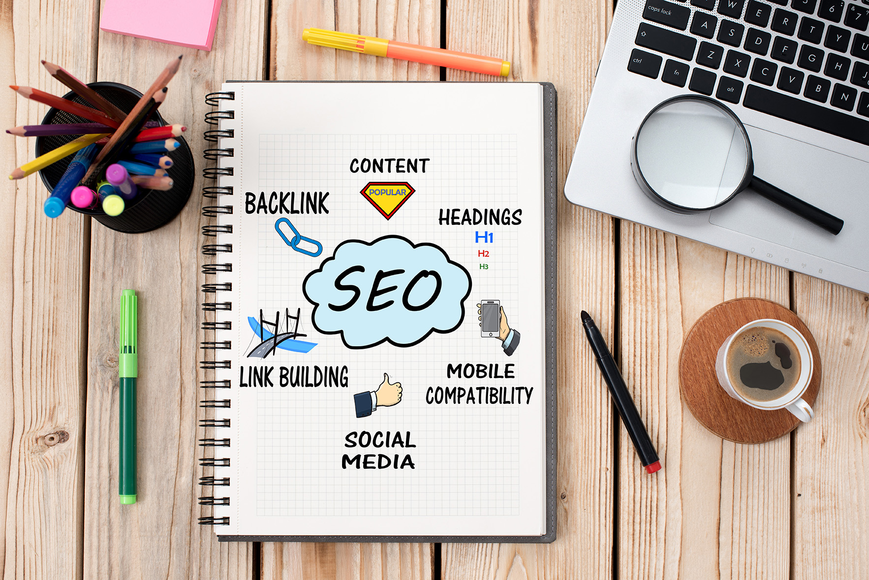 Search Engine Optimization (SEO) Concept On Work Desk