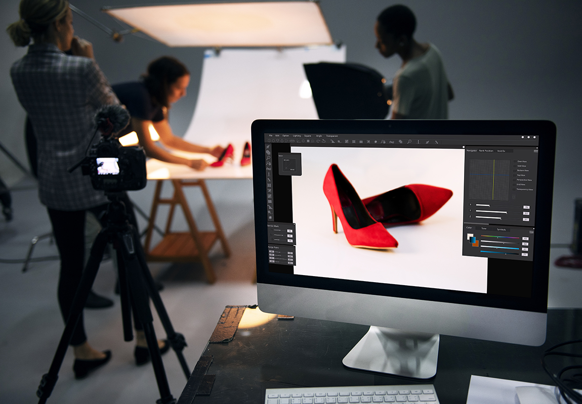 Photo shoot for red high heels