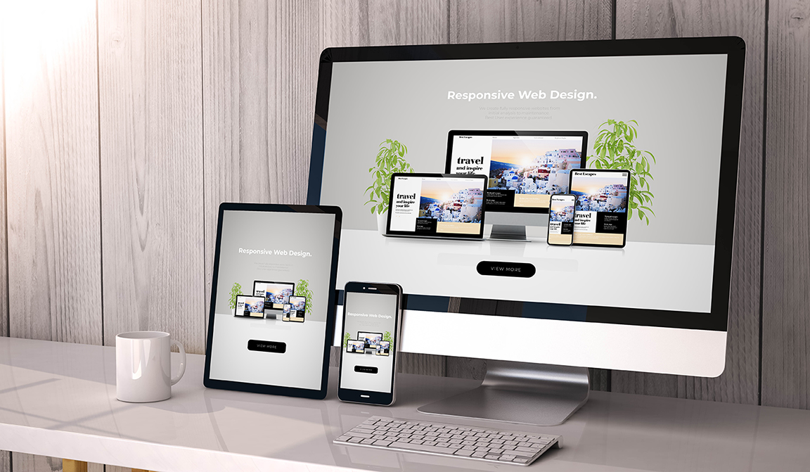 iMac, tablet and iPhone showing responsive web design